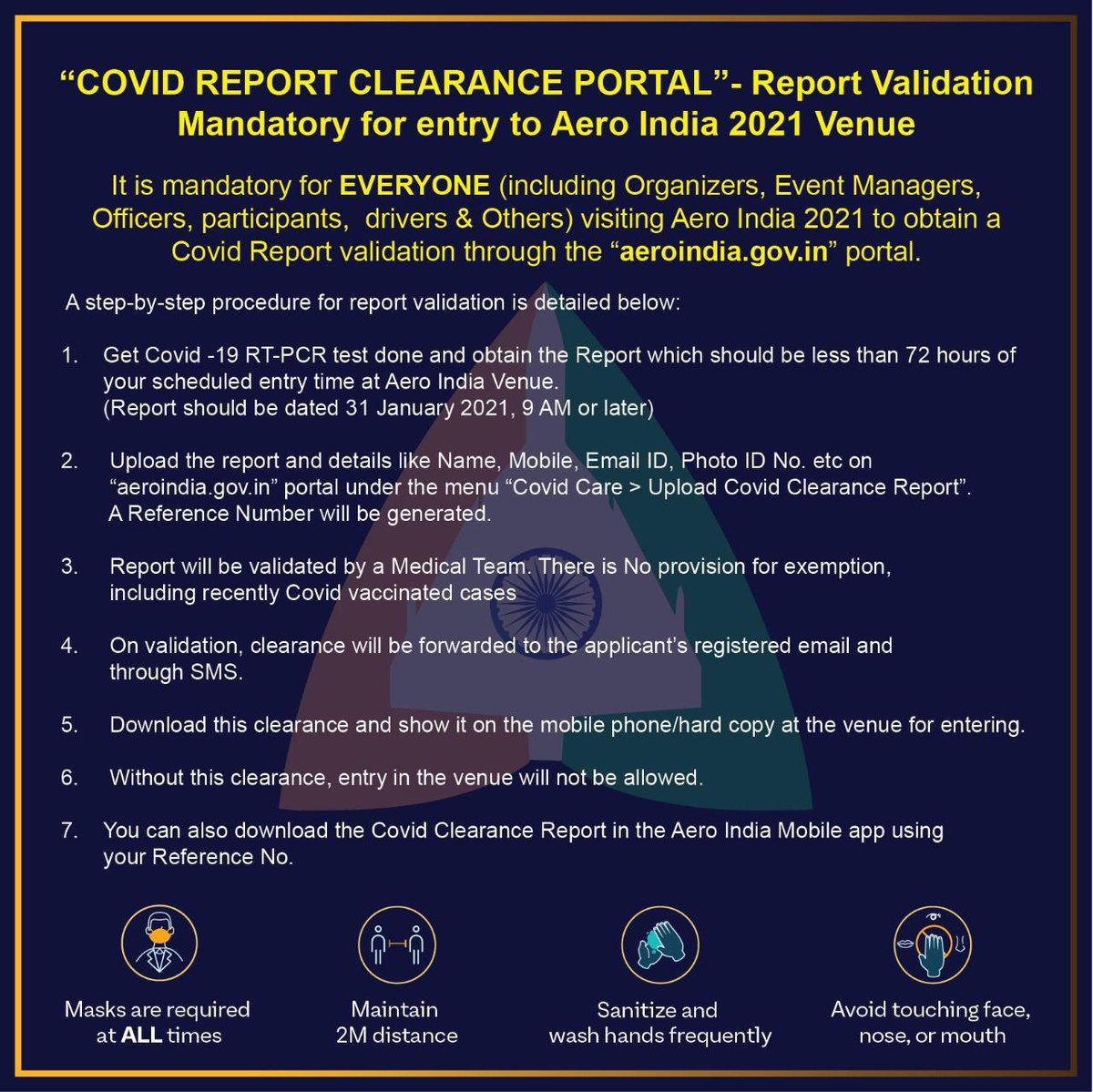 Aero India Alert!  If you are an invitee to #AeroIndia2021, be sure to obtain a COVID report validation through the '' portal. It is mandatory for everyone, including organizers, event managers, officers, participants, etc. Follow the SOPs given below.