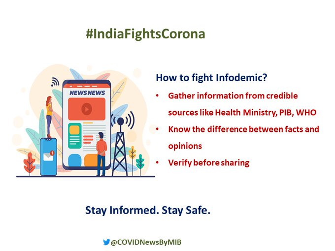📍Do you know how to fight the infodemic related to #CovidVaccine ❓  👉Gather information from credible sources like  @MoHFW_INDIA, @PIB_India, @WHO  👉Know the difference between facts and opinions 👉Verify before sharing   #We4Vaccine #Unite2FightCorona