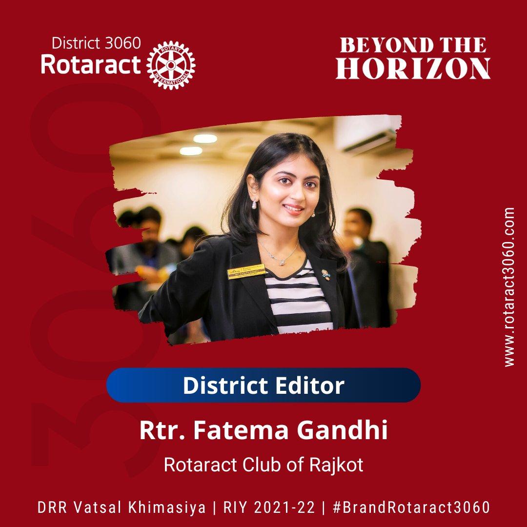 We're presenting, Rtr. Fatema Gandhi from Rotaract Club of Rajkot as 𝐃𝐢𝐬𝐭𝐫𝐢𝐜𝐭 𝐄𝐝𝐢𝐭𝐨𝐫 𝟐𝟎𝟐𝟏-𝟐𝟐  #Rotary3060 #Rotaract3060 #sundayvibes #DistrictEditor #BeyondTheHorizon #RID3060 #announcement #brandrotaract3060 #rajkot #rotary #rotaryinternational #Rotaractor