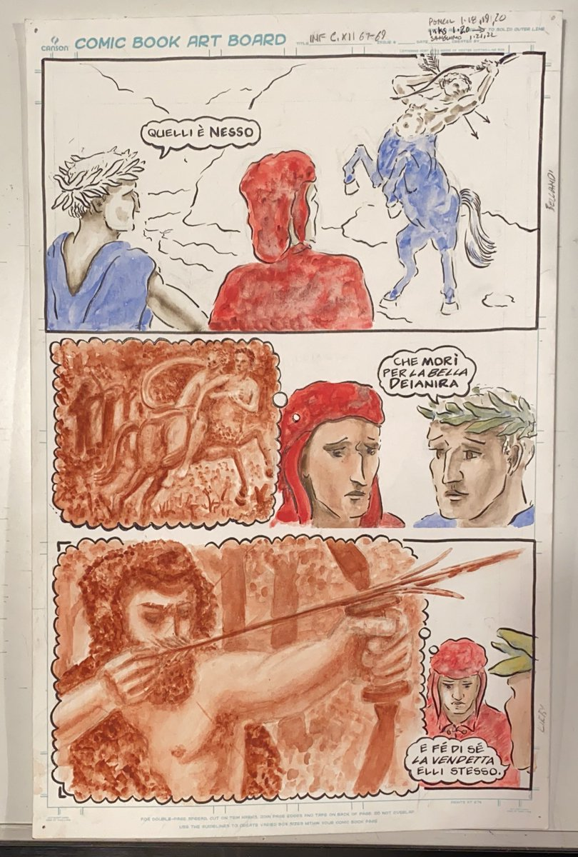 Back at it. First layers. My fav colors: Verdaccio & Lapis Lazuli. V. is a secret mixture of Raw Umber and Naples Yellow, made by Zecchi, Florence. It was used in fresco, oil, or watercolor as flesh tone under-painting going WAY back. It always works. #dailydante #dante #comics https://t.co/SLiTXtGO9W