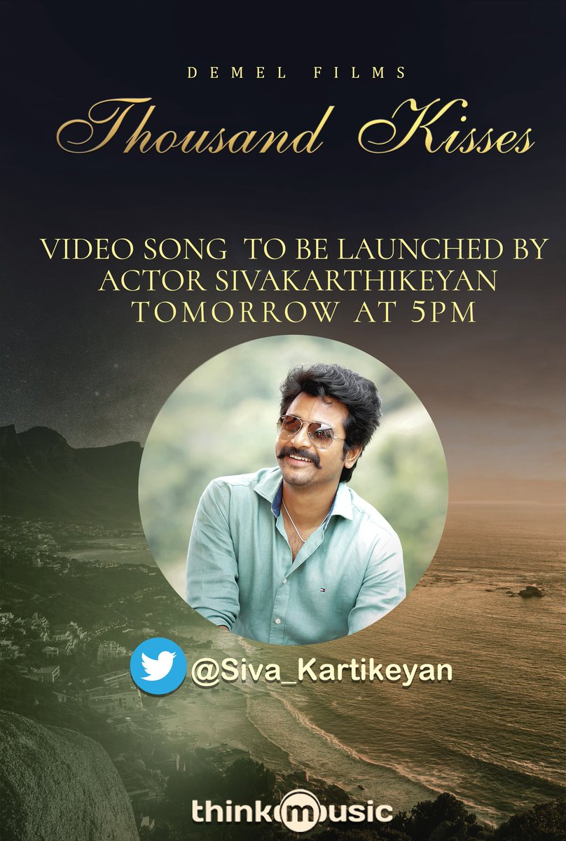 To love is to receive a glimpse of heaven ❤️ The soulful romantic single #ThousandKisses to be launched by Actor @Siva_Kartikeyan tomorrow at 5.00 PM !   @Demelcinema @DhayaSandy @ikevinadams @ponkathiresh