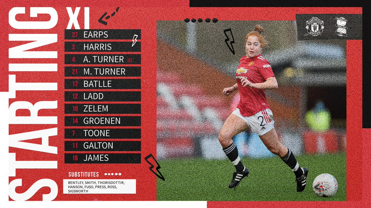 📋 Team news is in!  🔺 First start of the season for @MarthaH19 🔺 @MariaThorisdott makes the matchday squad 🔺 @LaurenJamess22 leads the line  #MUWomen #BarclaysFAWSL
