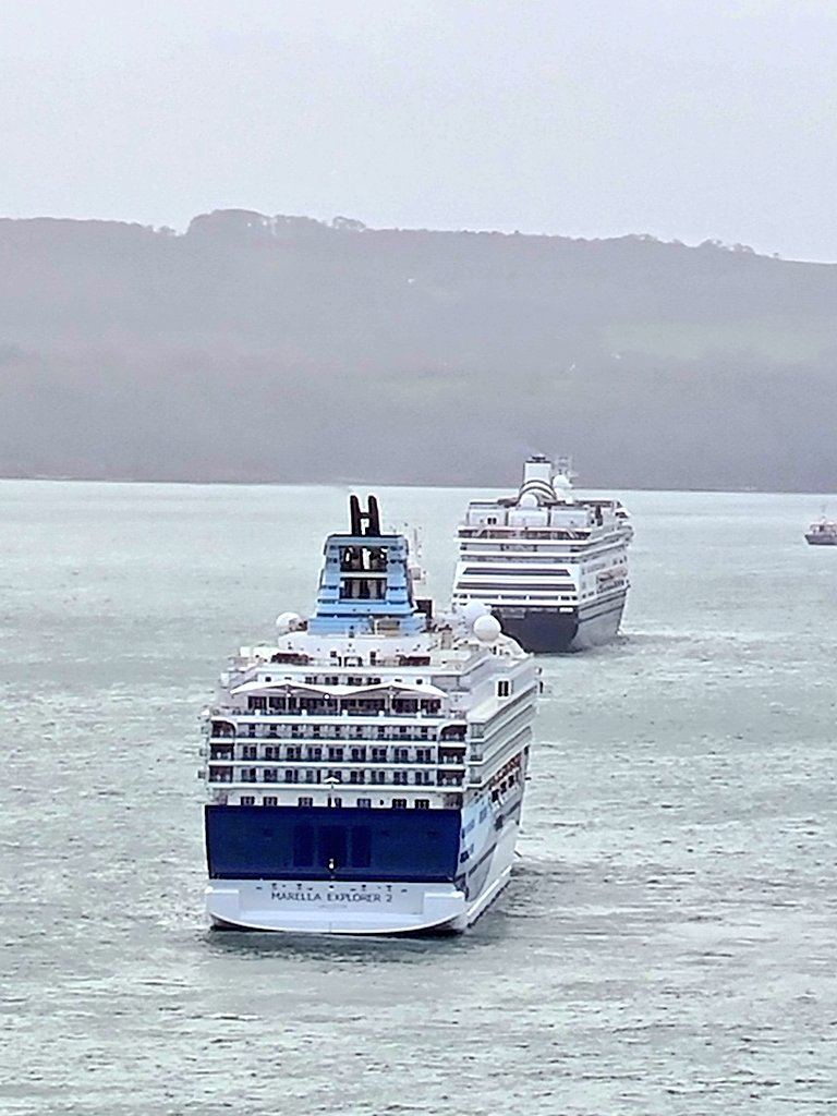 """#picoftheday continues the #cruiseship """"rear of the year #Award with Queen Mary 2 currently winning. Today's contestants #MarellaCruises #MarellaExplorer2 and #HollandAmerica #HAL #Zaandam on a rather misty day off #Torquay. #cruising #cruise #travel #sailing #holiday #vacation"""