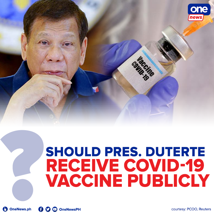 Vice Pres. Leni Robredo challenged Pres. Duterte to have his COVID-19 immunization administered in public. Days before, a senator dared Robredo to do the same in order to boost the publics trust to the vaccine.