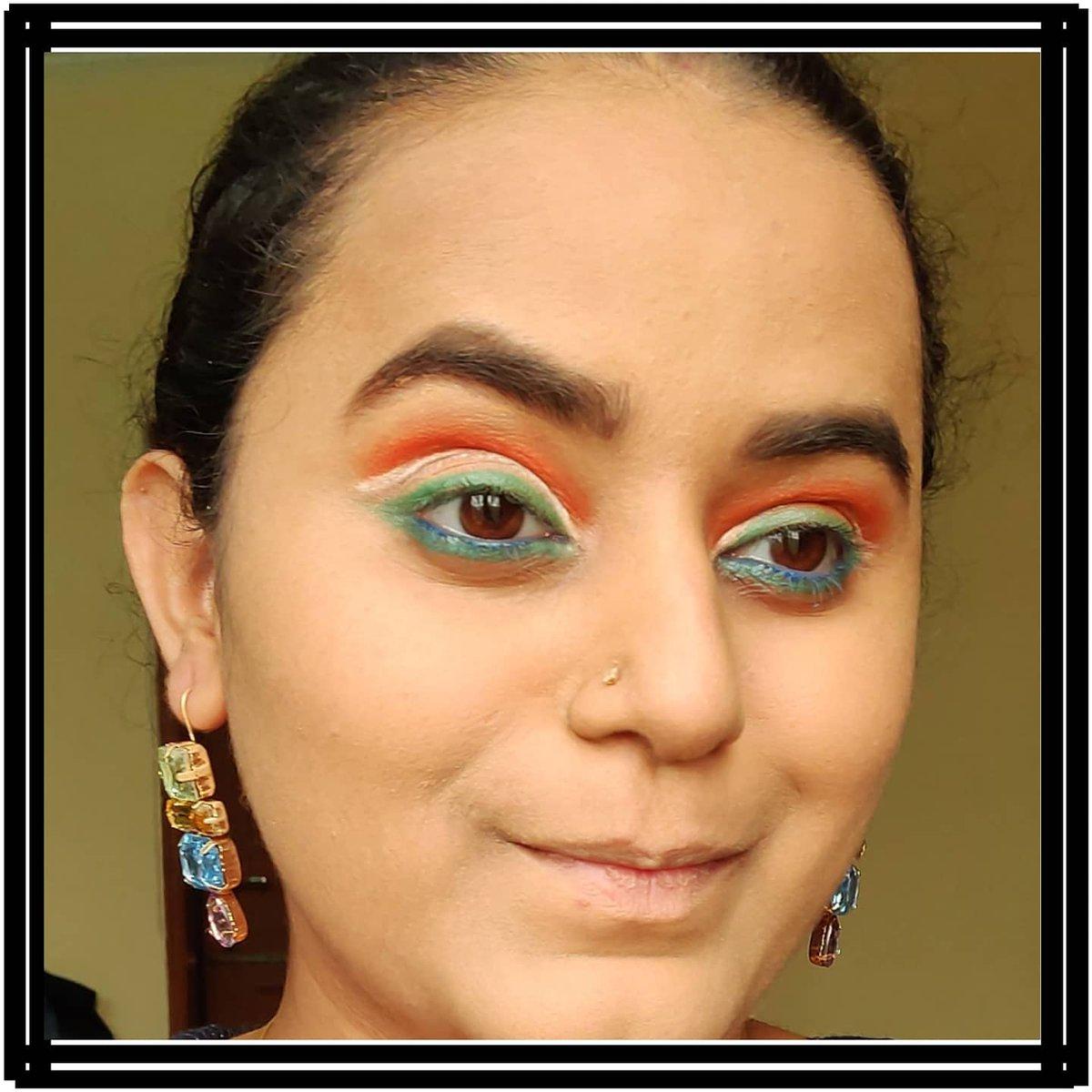 Happy Republic Day 2021 . Pallete used : @cuffsnlashes yolo face paints @imagiccosmeticsindia @wetnwildindia white kajal pencil . #makeup #beauty #makeupartist  #picoftheday #bhfyp #makeupadd #cuffsnlashes #nidhikatiyar #eyeliner #eyeshadow