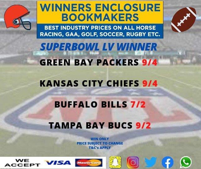 Superbowl LV 2020-21 🏉 #nflredzone #NFL100 #NFLKickoff #NFLisBACK @oddschecker @RacingPost @NFL @Buccaneers @BuffaloBills @packers @Chiefs
