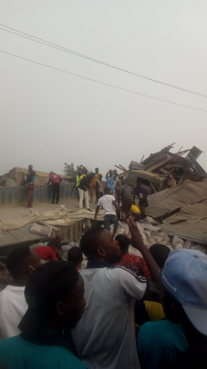 """""""@Austynzogs: @Gidi_Traffic SAD: A Dangote truck conveying cement,this evening lost control and rammed into shops near the gate of  Adekunle Ajasin University, Akungba-Akoko in Ondo state. At least 8 people feared dead"""