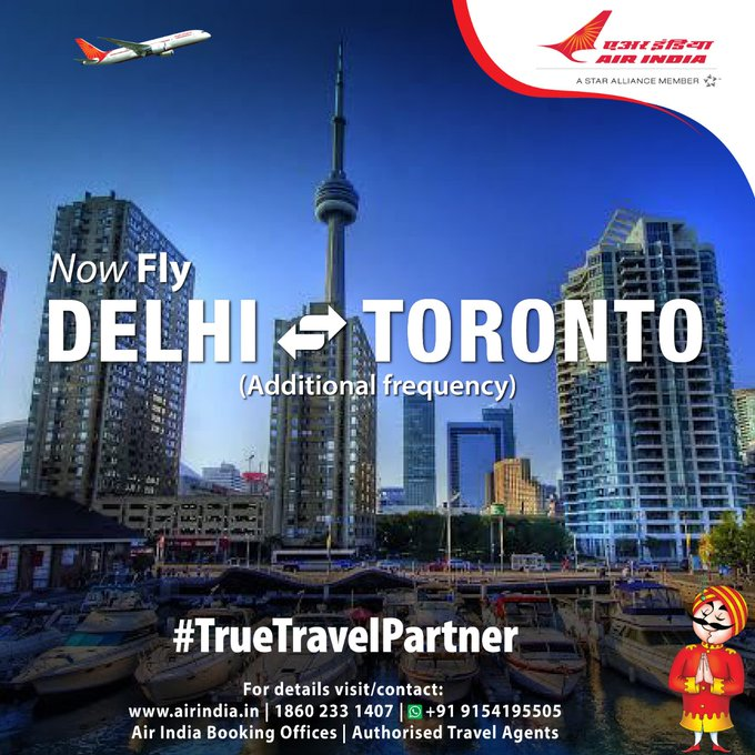#FlyAI : Now fly six days non-stop on Delhi-Toronto sector.   Air India will enhance frequency on the Delhi-Toronto sector with an additional flight every Wednesday from 10th Feb to 24th Mar, 21.   Booking open through Air India Website,Booking Offices & Authorised Travel Agents.