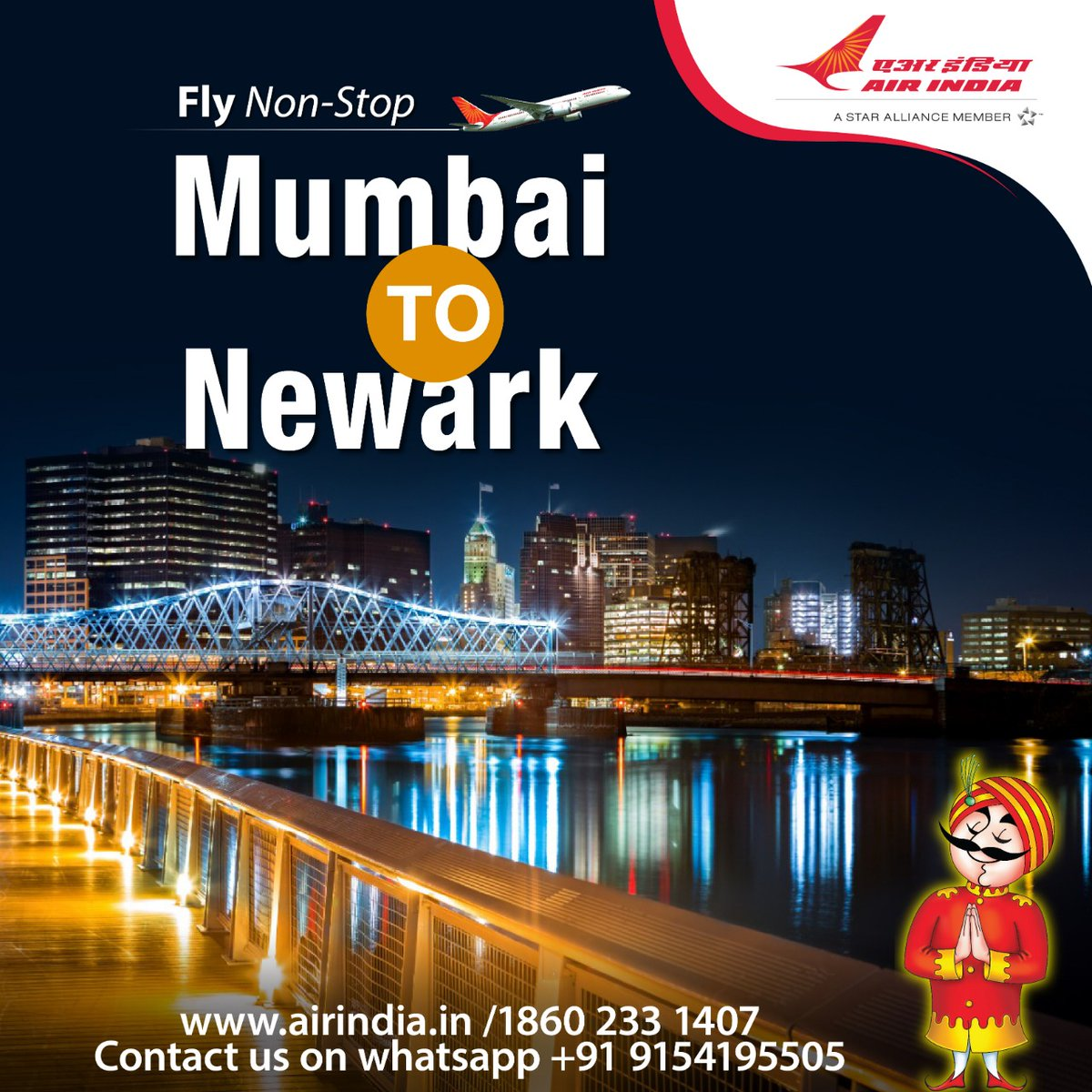 #FlyAI : Fly non-stop between Mumbai and Newark.  Booking open through Air India website, Booking Offices, Call Centre and Authorised Travel Agents.  For detailed schedule please visit the link