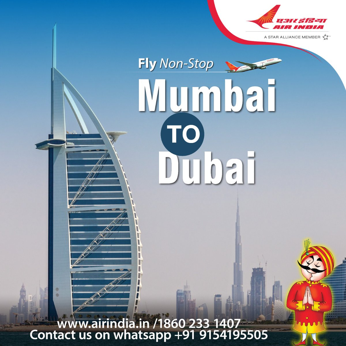 #FlyAI : Fly non-stop between Mumbai and Dubai.  Booking open through Air India website, Booking Offices, Call Centre and Authorised Travel Agents.  For detailed schedule please visit the link