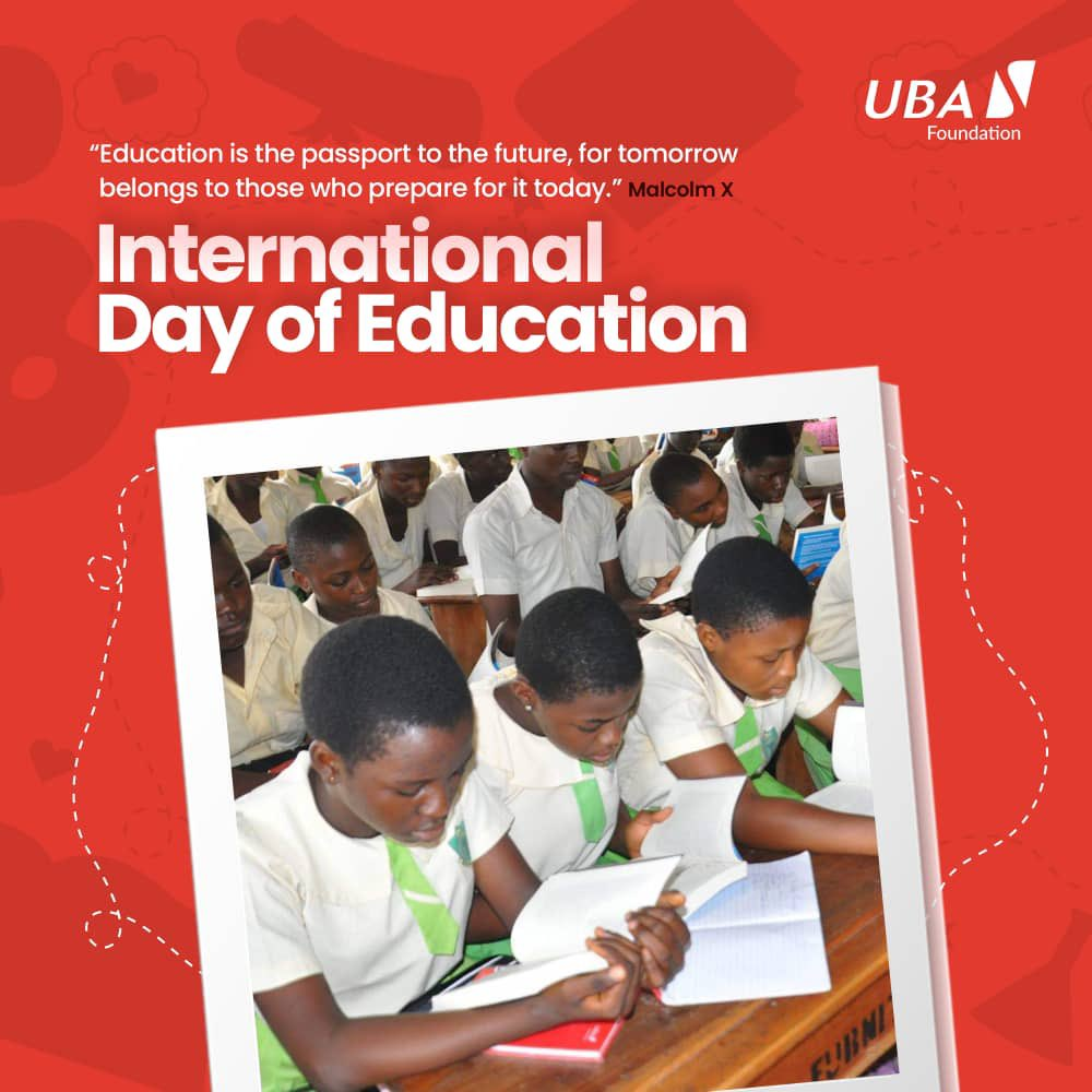 Happy #InternationalDayOfEducation 🥳📚 Celebrate by visiting  to access our #UBAReadAfrica novel and share with a child or member of your community! #TogetherWeCan #AfricasGlobalBank #UBACares