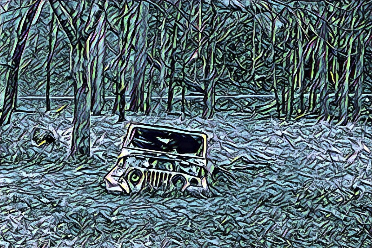 Sunken Jeep Prisma Remix  #SunkenJeep #OldJeep #Jeep #Sunk #Old #HiddeSpot #CountyPark #Outside #WalkAbout #Photography #Colorful #Prisma #PrismaEdit