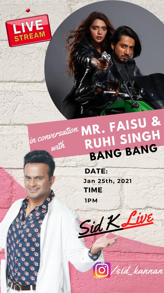 Catch me LIVE in conversation with the incredible @Mr_Faisal_S07 & @ruhisingh11 tomorrow, 25th Jan, 1pm on my #Instagram:    Join in, have a blast & ask us your questions! IL try to get as many as possible answered!   #SidK #BangBang @ektarkapoor @altbalaji