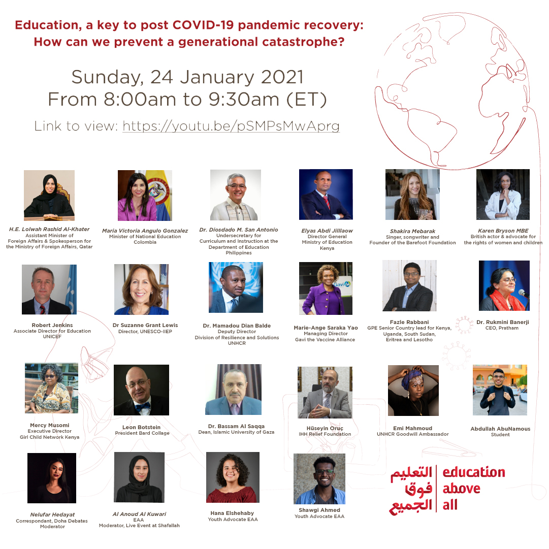 Join us today to celebrate the 3rd #EducationDay with global leaders, ministers, policy makers & youth Alongside @Lolwah_Alkhater @shakira, @netflix star @karen_bryson MBE & others we #UniteToProtect & plan to #BuildBackEducation in these tumultuous times