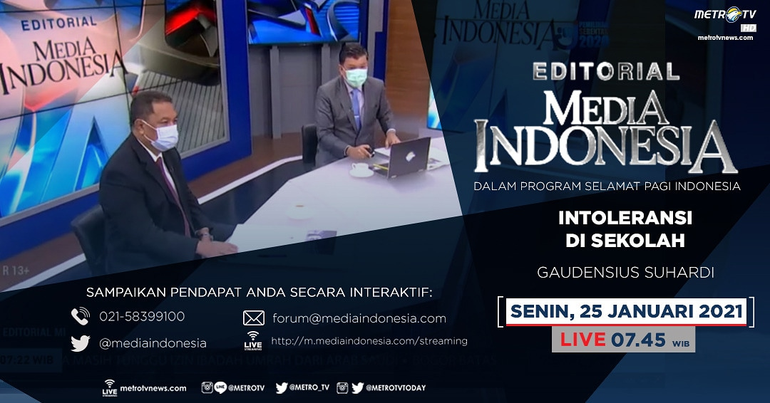 #EditorialMediaIndonesia hari Senin (25/1) LIVE pukul 07.45 WIB dalam program #SPIMetroTV akan membahas intoleransi yang terjadi di lingkungan sekolah, bersama pembedah Gaudensius Suhardi.  #metrotv #mediaindonesia