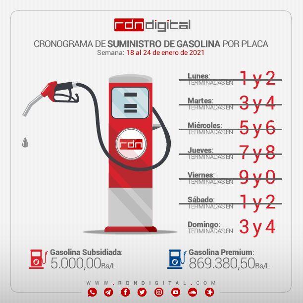 ⛽️ CRONOGRAMA DE SUMINISTRO DE GASOLINA  Esquema de distribución de combustible a partir de la semana del lunes 18 al domingo 24 de enero por terminal de placa. ____  📍 Sigue nuestro Canal →   📱 Súmate a nuestro Grupo →