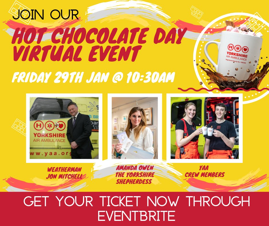 Join in our National Hot Chocolate Day virtual event on 29th January at 10.30am featuring talks with ITVs Jon Mitchell, the YAA crew and Yorkshire Shepherdess Amanda Owen! eventbrite.co.uk/e/hot-chocolat…