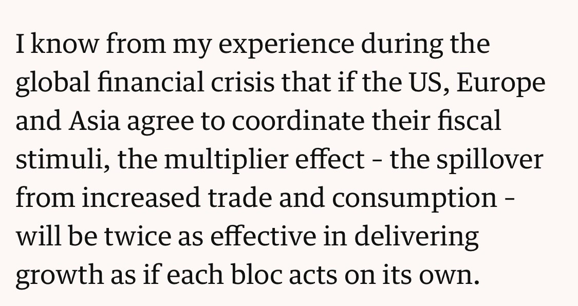 From his column in the @guardian , an important reminder from Gordon Brown of the importance of a coordinated global policy approach.  #economy #growth #G7 #G20 @WorldBank @IMFNews #IMF @OfficeGSBrown
