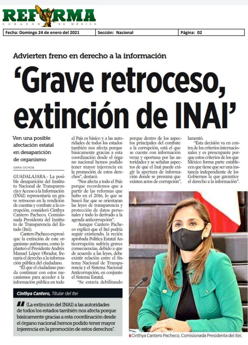 📰#FelizDomingo Te invito a leer esta nota de @Reforma respecto a la posible desaparición del @INAImexico @ITEIJal @CoordGaranteSNT 👇 https://t.co/rzSuQlDvmJ