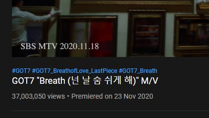 BREATH REACHED 37M!!!!!!!!!!!!!!!!!!!!!!!!!!!!!!  @GOT7Official #GOT7 #Breath https://t.co/IfqfGTxoHf