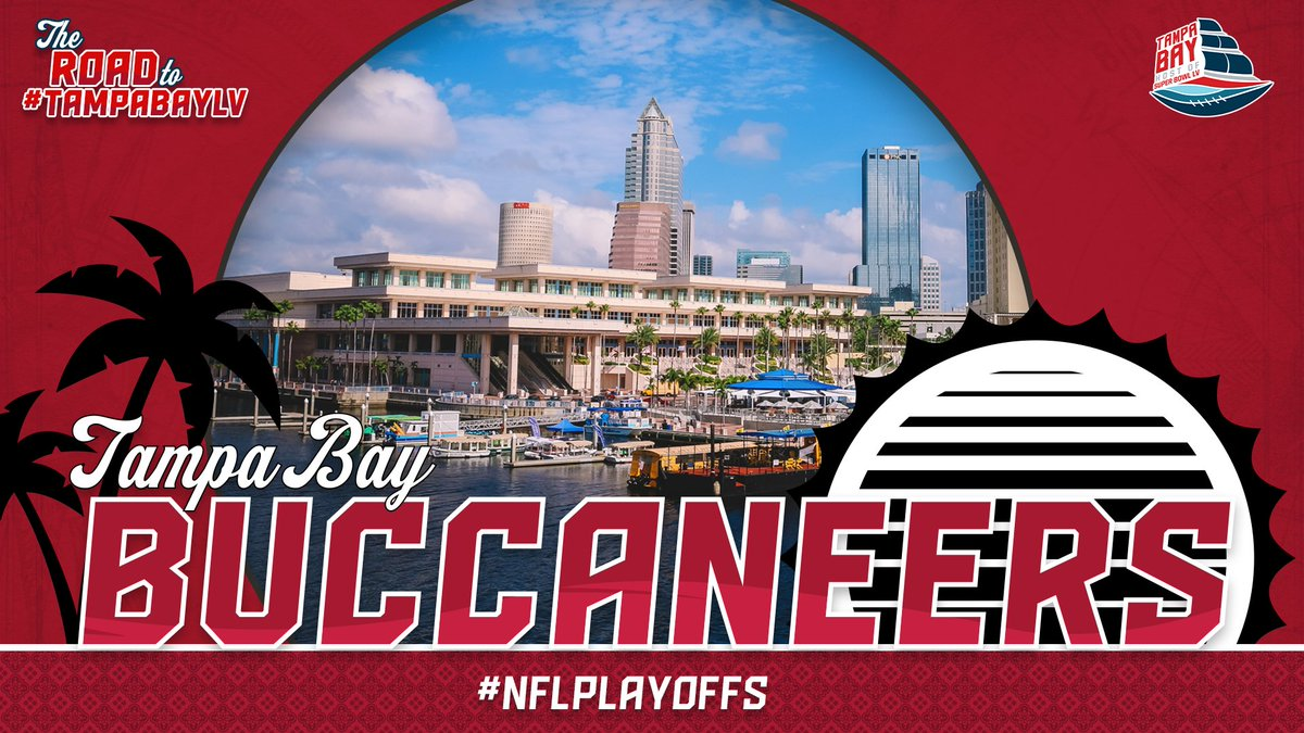 """Fire the cannons and #RaiseTheFlags!   The @Buccaneers are 1⃣ WIN away from making it to the last stop on the """"Road to #TampaBayLV!""""  #GoBucs // #NFLPlayoffs https://t.co/svEUXnnGj5"""