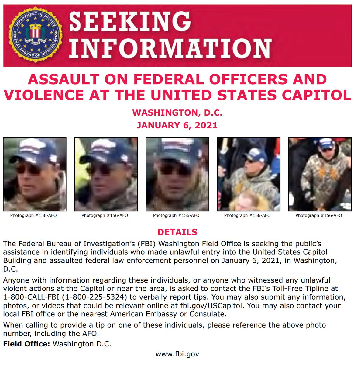 NEW: #FBIWFO is seeking the public's assistance in identifying this individual who made unlawful entry into the US Capitol & assaulted law enforcement on January 6th. If you have info, call 1800CALLFBI or submit info to tips.fbi.gov. fbi.gov/wanted/seeking…