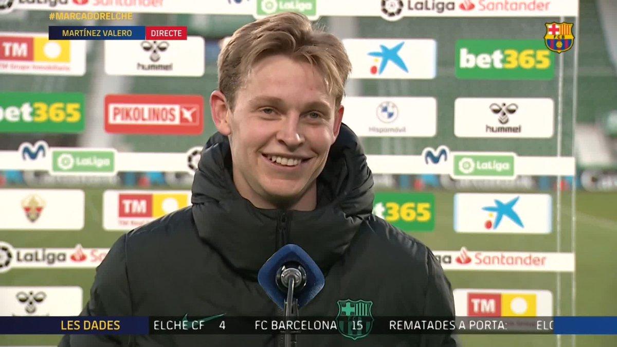 ❝Estoy feliz con el gol, pero sobretodo por la victoria.❞      ‒ @DeJongFrenkie21 tras marcar en el #ElcheBarça.