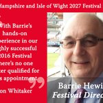 Image for the Tweet beginning: Barrie Hewitt is made Festival