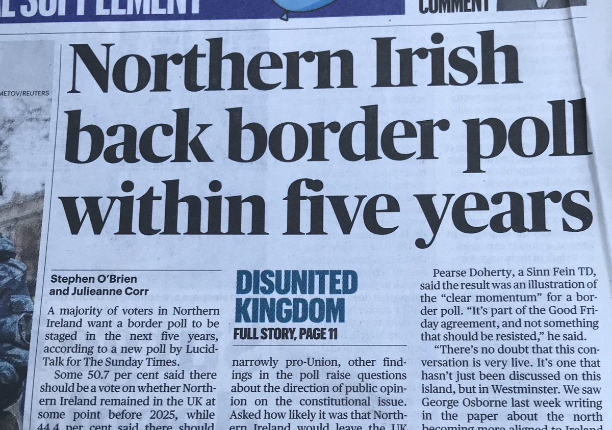 When there's a border poll let's ensure it's not a sectarian headcount but instead a respectful debate on what's in best interests of N Irl and the island. There'll be a strong pro union case, so those of us who support unity must meet the challenge with creativity & inclusivity.