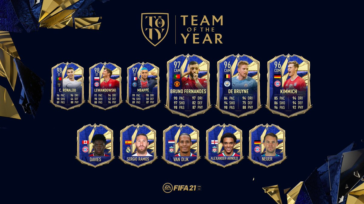 The ones who boss the game from the first minute to the final whistle.  Introducing the ratings for your Team of the Year Midfielders.  #TOTY #FIFA21