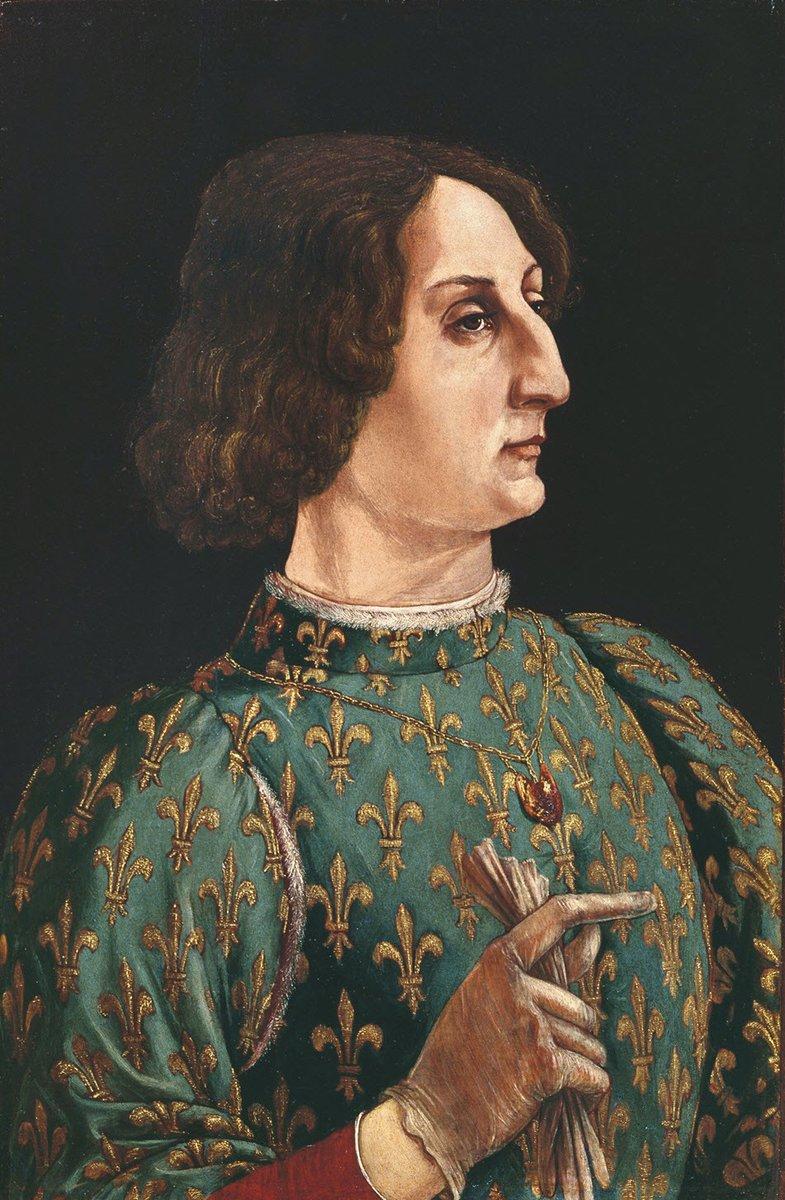 Born #OnThisDay in 1444: #GaleazzoMariaSforza (1444-76),  Duke of Milan   Portrait by #PierodelPollaiolo (1441-96), ca. 1471   #Sforza