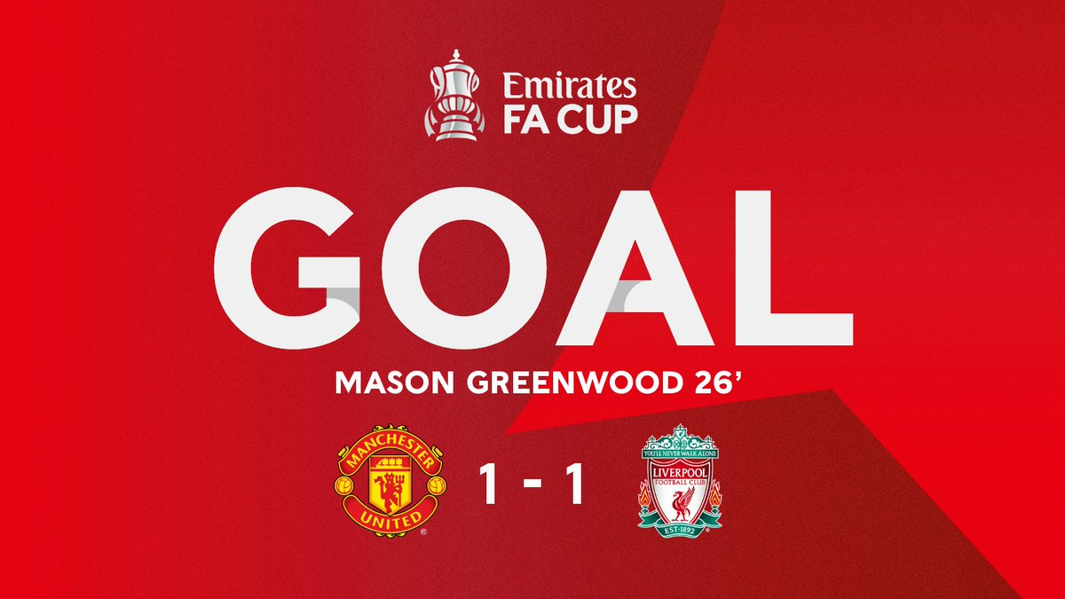Manchester United level things up at Old Trafford through Mason Greenwood ⚡️ #EmiratesFACup