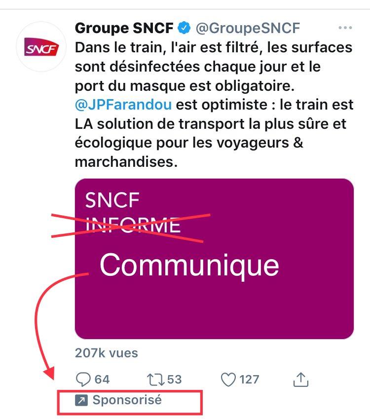 Ne pas être dupe Ne pas confondre «communiquer» et «informer» Message qui informe = profite à celui qui reçoit le message Un message «communiqué» profite à celui qui l'envoie Distinguez qui informe et qui communique 😉 #information #communication  Super exemple ⤵️@SNCF