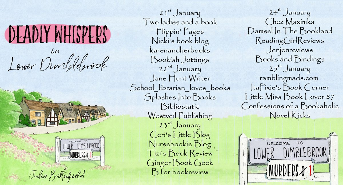 """""""If you are looking for a light cosy mystery set in the British countryside, do visit the world of Lower Dimblebrook with its colourful and whimsical characters."""" says @maximka25 about Deadly Whispers in Lower Dimblebrook by @juliebeewriter"""