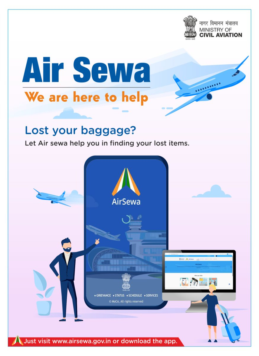 Air Sewa: We are here to help  Lost your baggage? Let Air sewa help you in finding your lost items.  Just visit  or download the app.