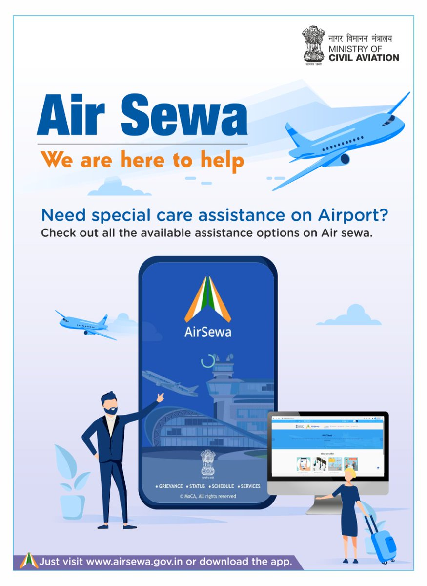 Air Sewa: We are here to help  Need special care assistance on Airport? Check out all the available assistance options on Air sewa.  Just visit  or download the app.