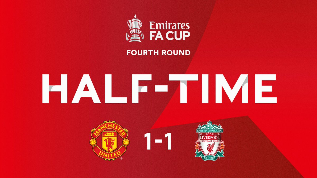 All square going into half-time at Old Trafford #EmiratesFACup