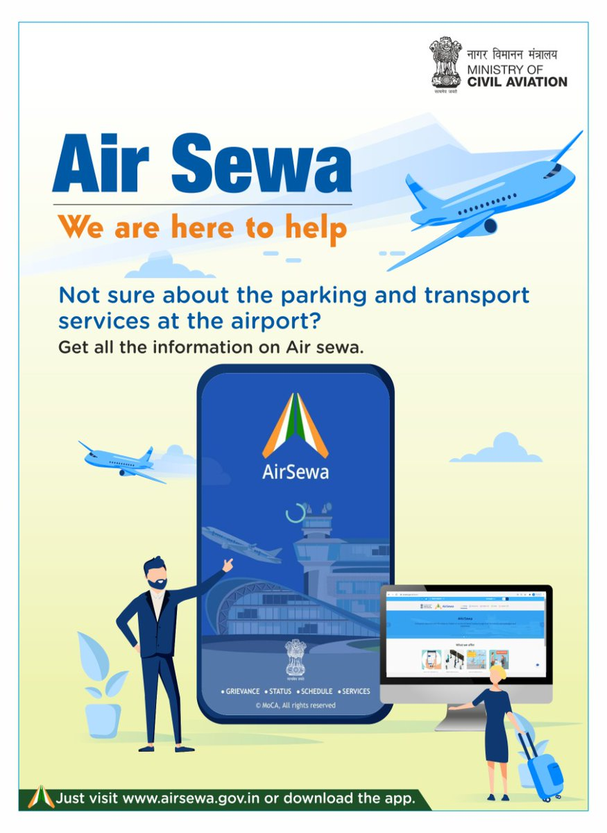 Air Sewa: We are here to help  Not sure about the parking and transport services at the airport?  Get all the information on Air sewa.  Just visit  or download the app.