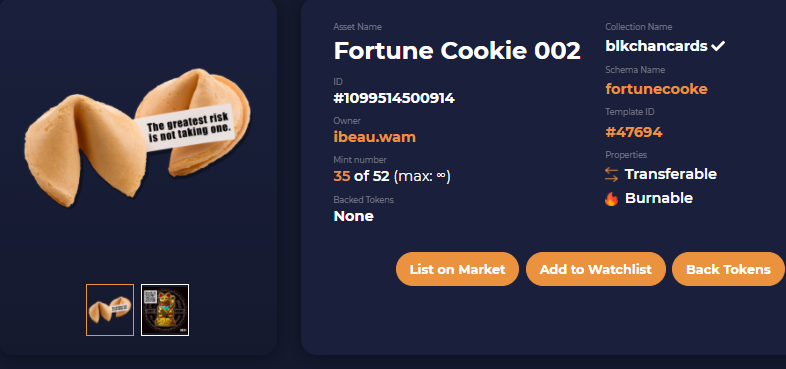"""Today's fortune...  """"The greatest risk is not taking one."""" 😉wise words🥠  Don't miss out on any of 2021's fortunes.   #NFTs #blockchain #collectibles #NFTfortunes #collecting"""