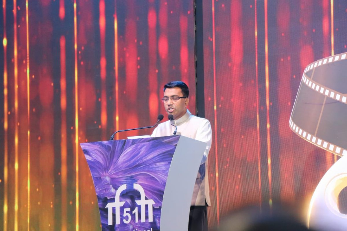 Hon'ble Chief Minister of Goa Shri @DrPramodPSawant addresses the Gathering at The Closing Ceremony of #IFFI51.  @satija_amit @Chatty111Prasad @PIB_India @MIB_India