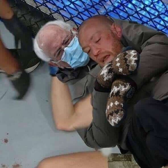 Bernie was there to give @thenotoriousmma a hug after his loss to @dustinpoirier last night. #ufc @ufc #mma #fightnight #knockout @berniesanders