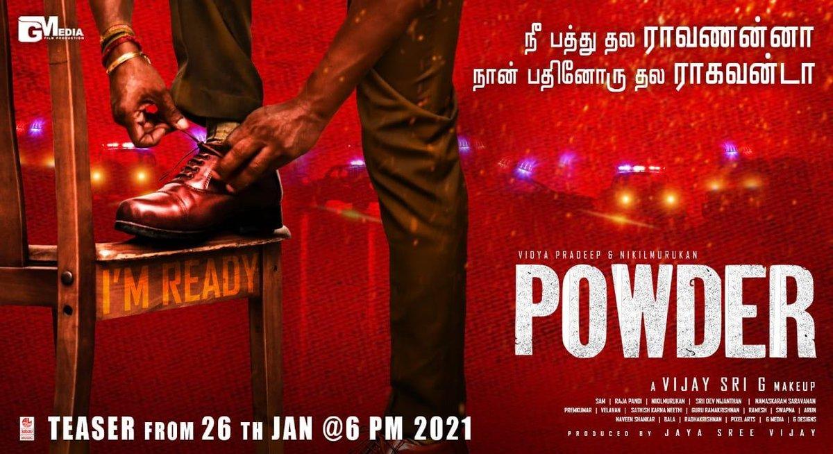 *நீ பத்து  தல ராவணன்னா  நான் பதினோரு தல *ராகவன் டா  * #Powder teaser Streaming to release on 26th jan #பவுடர் #PowderTamilfilm  #AVijaySriGmakeup @vijaysrig @Vidya_actress @onlynikil #manobalam @catcharadya @catchtshantini #Aadhavan #RajapandiDop @onlygmedia #Powder26 #VSGfilm
