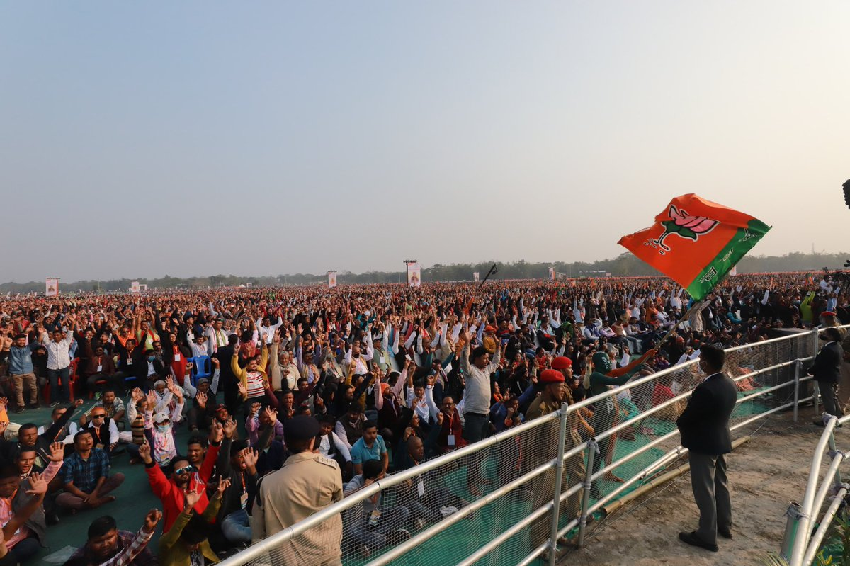 Grateful to the people of Assam for turning out in record numbers today at Vijay Sankalp Samavesh in Nalbari, Assam.