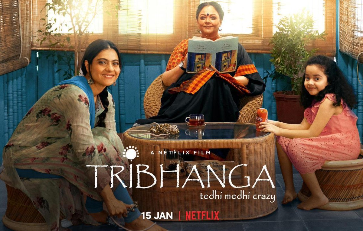 Done watching Tribhanga ✅  This film is so touching, precious and makes you think about the consequences of our acts & the beauty of forgiveness. 🤍  Beautiful & emotional movie. Missing Kajol 🥰 #Tribhanga