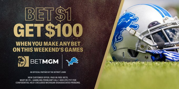 @BetMGM are live in #Michigan and have a CRAZY offer for all #Lions fans  Place any $1 bet on today's games & you'll receive $100 free!  #Detroit #NFL #OnePride #TBvsGB #BUFvsKC #NFLTwitter #ChiefsKingdom #GoPackGo #BillsMafia #GoBucs  Sign up here 👇