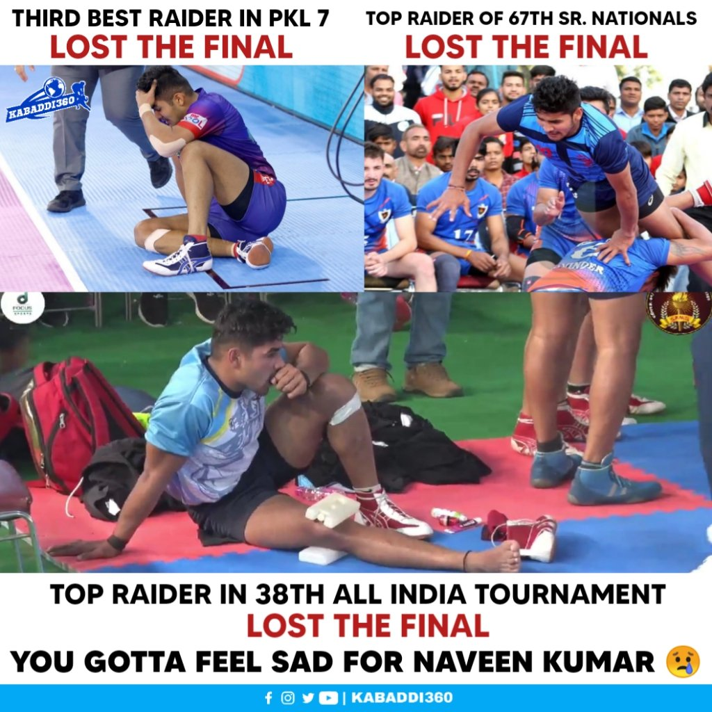 Even though he performs his level best in the tournaments, his team ends up as runners-up mostly 🤕  #NaveenKumar #38thAllIndiaKabaddiTournament #Kabaddi360 #Kabaddi