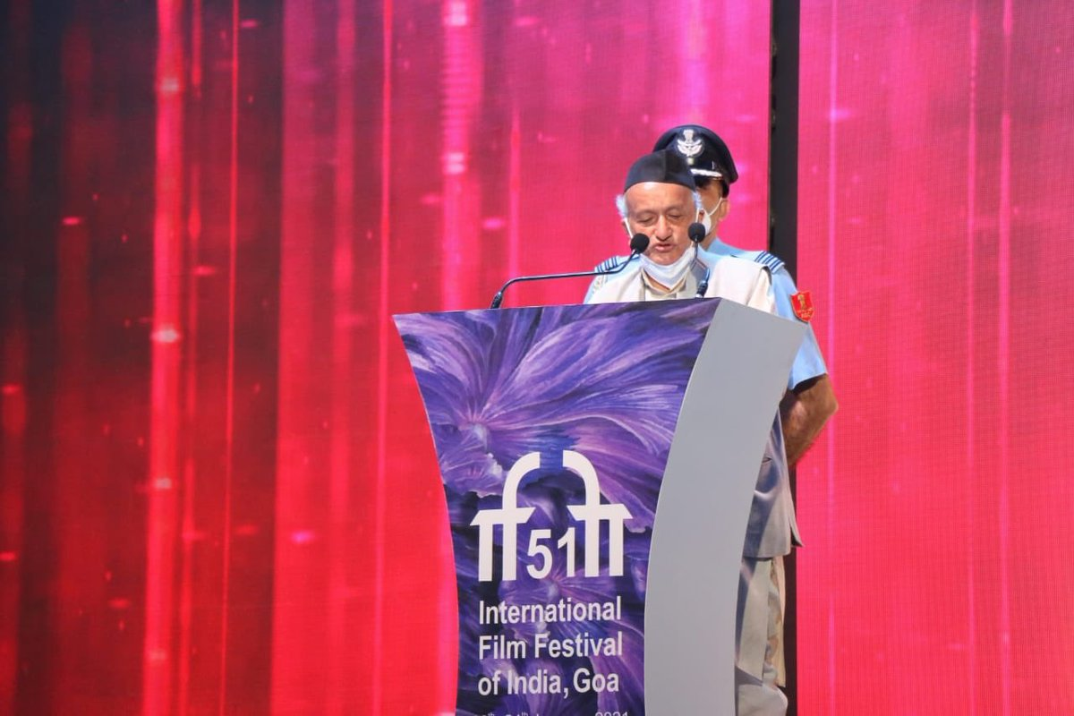 Hon'ble Governor of Goa Shri Bhagat Singh Koshiyari addresses the Delegates and Dignitaries at The Closing Ceremony of #IFFI51.  @satija_amit @Chatty111Prasad @PIB_India @MIB_India