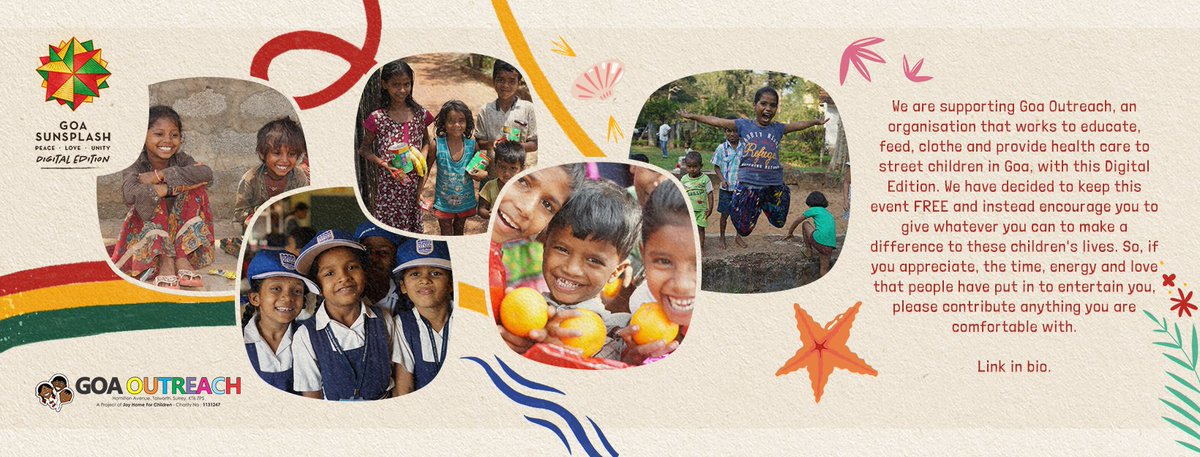 If you are watching #GoaSunsplash Digital Edition 2021 Please consider making a donation to @GoaOutreach Support street children in Goa by making a contribution here:     #reggae #goa #india #donation #help #outreach #ngo #kids