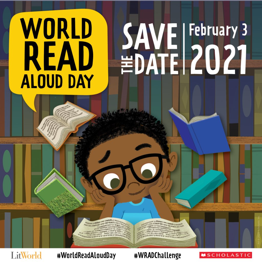 Get ready to read together on World Read Aloud Day! On February 3 join the celebration using #WorldReadAloudDay and tell us how reading aloud has impacted your life. To learn more visit: bit.ly/3bVzep1 @litworldsays
