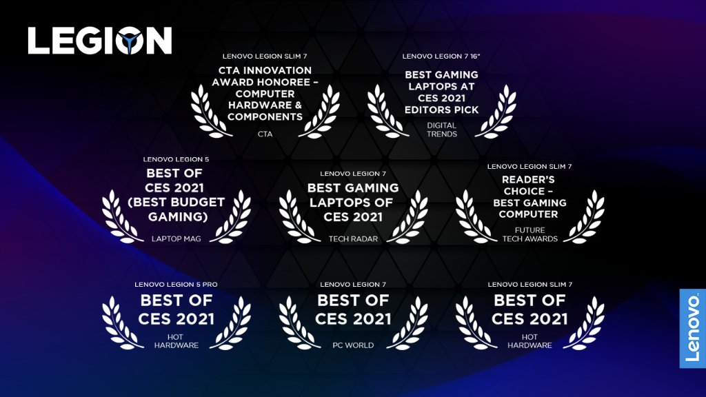 ✅ Trophy unlocked: 𝘛𝘩𝘢𝘵'𝘴 𝘢 𝘭𝘰𝘵 𝘰𝘧 𝘢𝘸𝘢𝘳𝘥𝘴!  At Lenovo Legion we don't just play the game. We want to get ALL the achievements.  🏆   #CES #CES2021 #LenovoCES